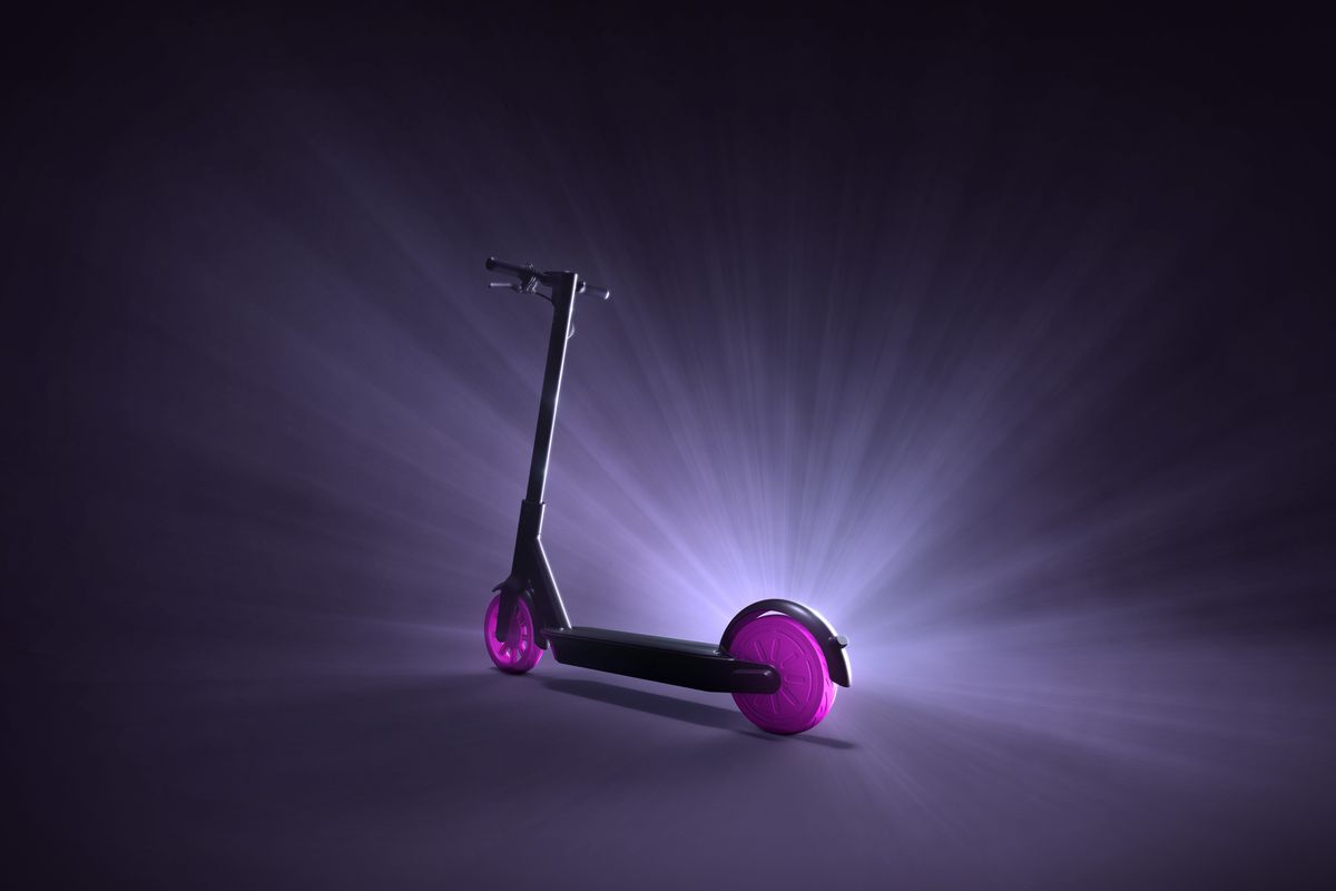 A black and purple e-scooter lit up against a black backdrop.