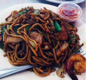 A noodle dish from Mutiara Food & Market in Inglewood, CA