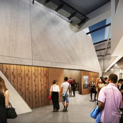 A rendering of the theater's entrance area inside the renovated Steppenwolf Theatre. | Adrian Smith + Gordon Gill (provided)