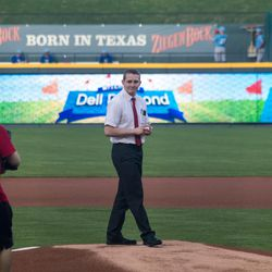 Elder Dusty Hone stands on the pitchers mound just before he throws the first pitch at the Round Rock Express vs. the Omaha Storm Chasers baseball game on Tuesday, April 18, 2017, at Dell Diamond.