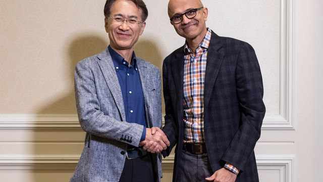 Chief executives Kenichiro Yoshida of Sony and Satya Nadella of Microsoft