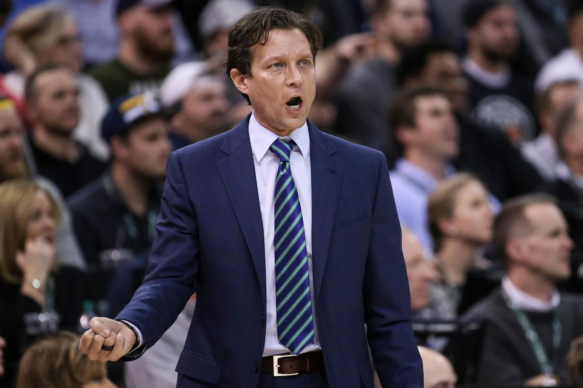 Utah Jazz head coach Quin Snyder reacts to a referee's call during the game against the Cleveland Cavaliers at Vivint Smart Home Arena in Salt Lake City on Tuesday, Jan. 10, 2017.