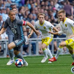 July 10, 2019 - Saint Paul, Minnesota, United States - Minnesota United midfielder Osvaldo Alonso (6) dribbles the ball during the quarter-final match of the US Open Cup between Minnesota United and New Mexico United at Allianz Field.