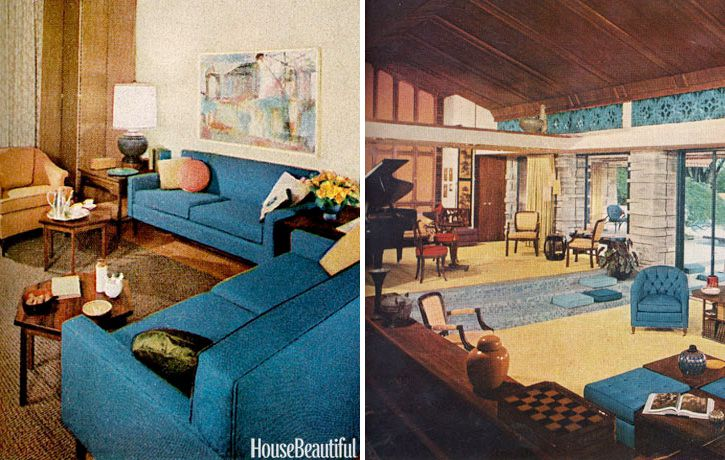 Midcentury modern design, as shown in House Beautiful issues from 1960.