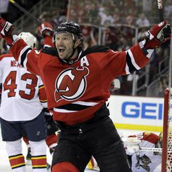 New Jersey Devils' Ilya Kovalchuk, of Russia, celebrates after scoring a goal against the Florida Panthers during the second period of Game 6 of a first-round NHL hockey Stanley Cup playoff series, Tuesday, April 24, 2012, in Newark, N.J.