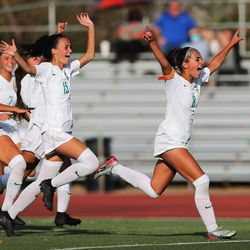 Farmington players celebrate at the end of penalty kicks in Bountiful on Tuesday, Sept. 22, 2020. The teams had battled to a 1-1 tie at the end of regulation, and Farmington went on to win with a 3-1 win in penalty kicks.