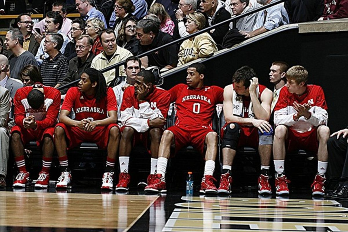 Feb 22, 2012; West Lafayette, IN, USA; Nebraska Cornhuskers bench reacts at the end of the game while losing to the Purdue Boilermakers at Mackey Arena. Purdue defeats Nebraska 83-65. Mandatory Credit: Brian Spurlock-US PRESSWIRE