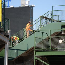 11:20 a.m. Work taking place at the south end of the right field bleacher patio -