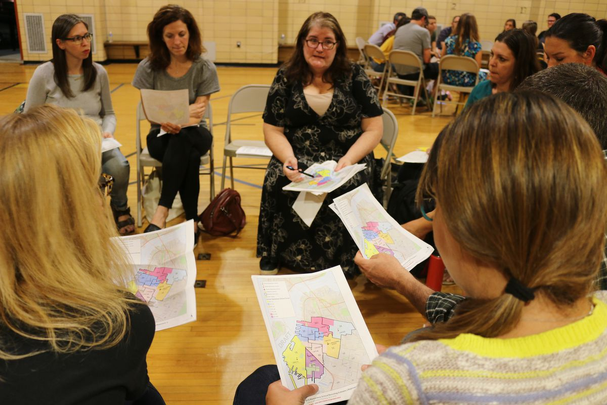 Parents gathered at P.S. 32 in Brooklyn to learn about a proposal to redraw elementary school zones to relieve overcrowding and encourage integration.