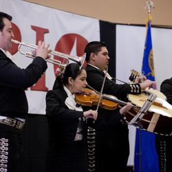 The mariachi band Los Viajeros performs during a gathering to raise awareness of the Colorado River and its tributaries, Thursday, April 12, 2012, in Las Vegas. A group of Hispanic leaders in Arizona, Vegas, New Mexico and Colorado are trying to urge federal leaders to do more to protect the Colorado River by stressing the water source's importance to Latino culture.