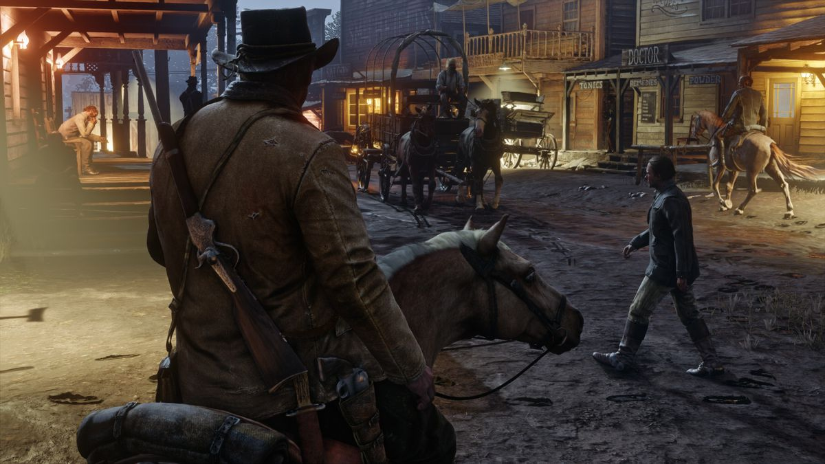 Red Dead Redemption 2 - on horseback in town