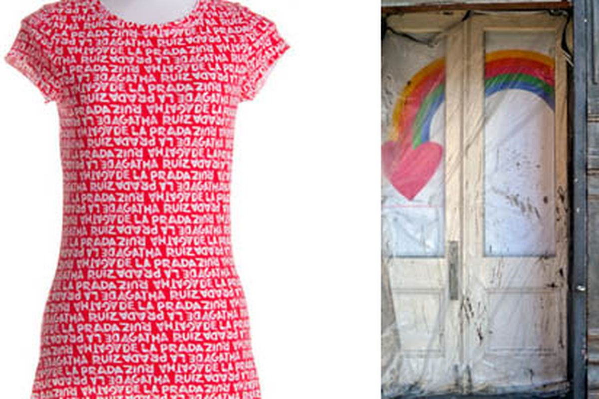 """Image at left via <a href=""""http://www.agatharuizdelaprada.com/eng/products/woman/womens_wear"""">Agatha Ruiz de la Prada</a>, at right via <a href=""""http://tribecacitizen.com/2010/11/01/seen-heard-coming-and-going/"""">Tribeca Citizen</a>"""