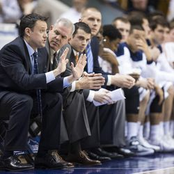 BYU assistant coach Tim LaComb, left, and head coach Dave Rose.