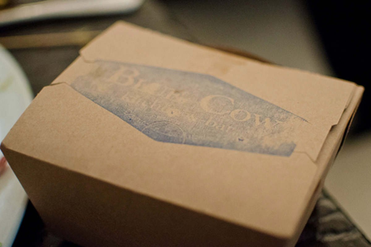 Takeout from Blue Cow Kitchen, Downtown.