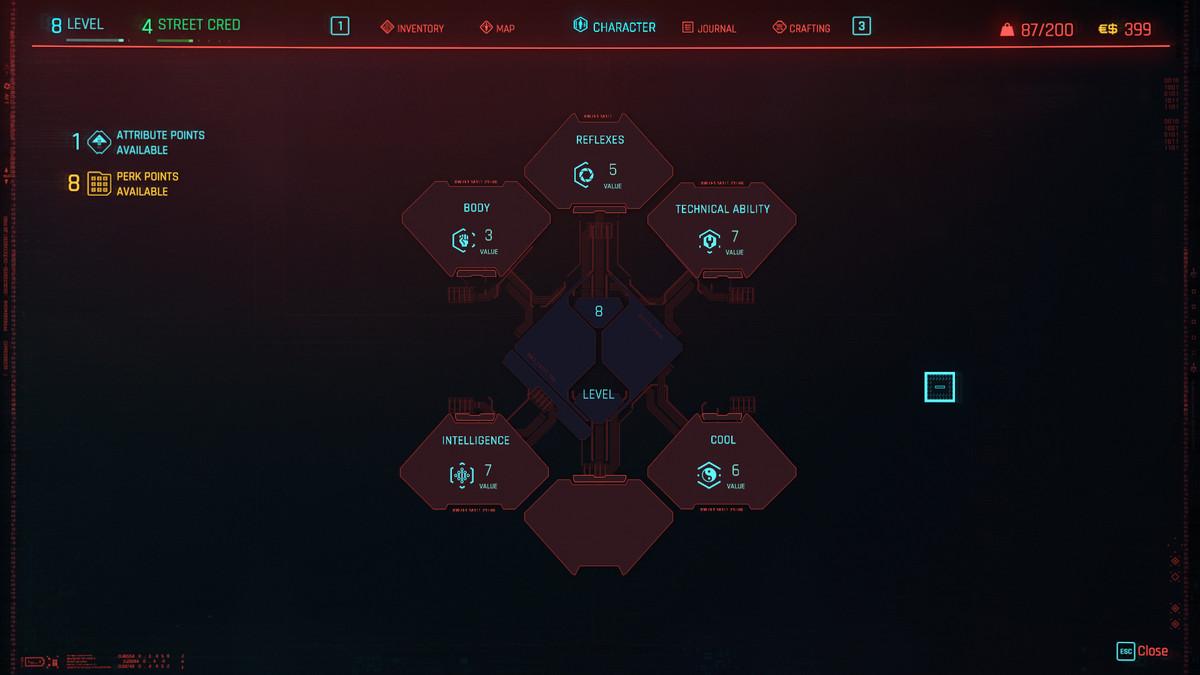 Cyberpunk 2077's Attributes menu