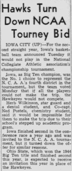 Iowa basketball 1945 NCAA Tournament