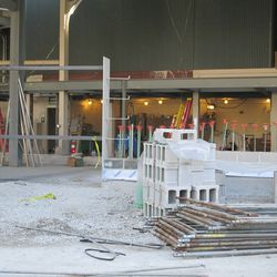 3:57 p.m. A frame set up to accommodate a gate along the exterior bleacher wall along Waveland -