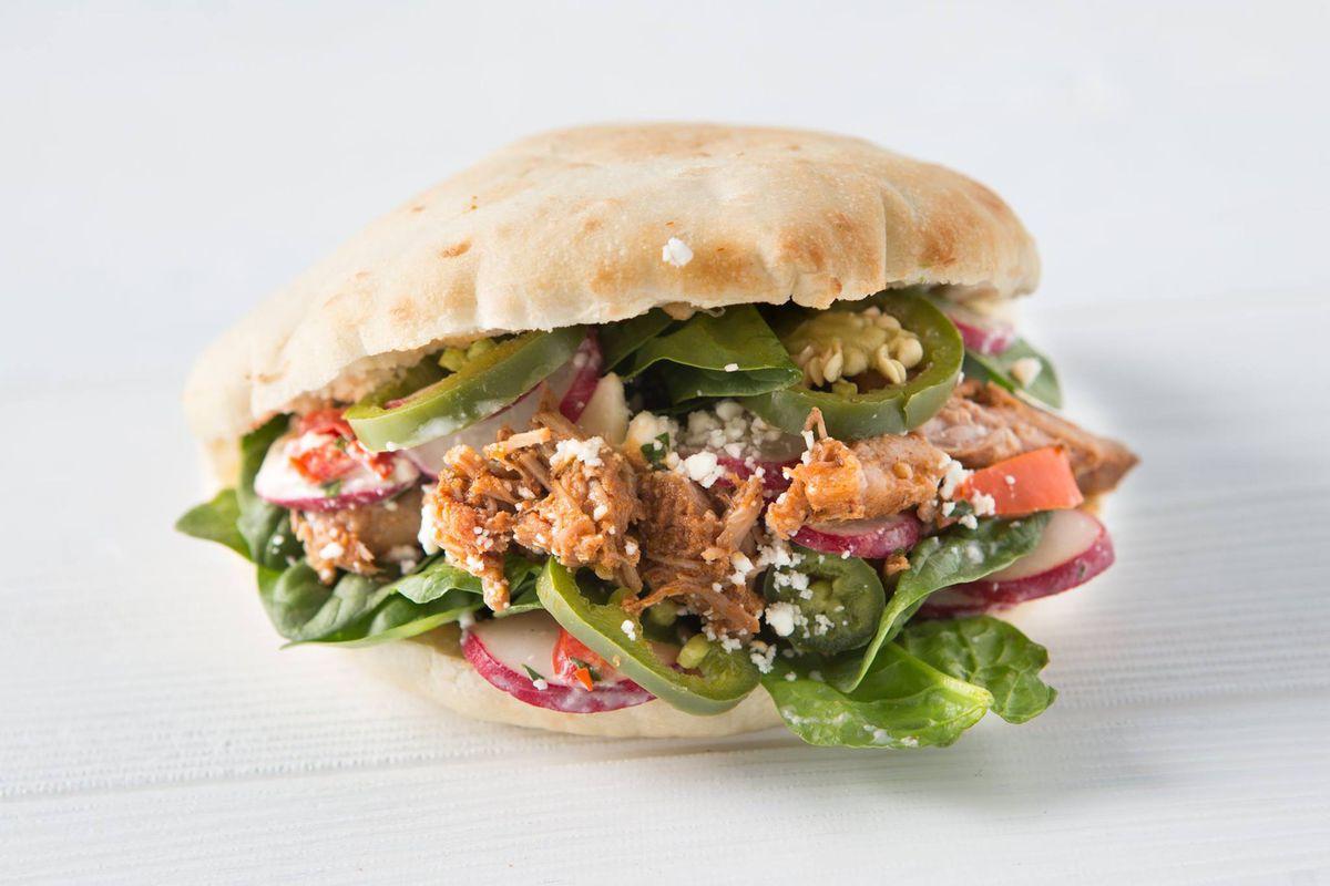 A pita sandwich from Noon Mediterranean