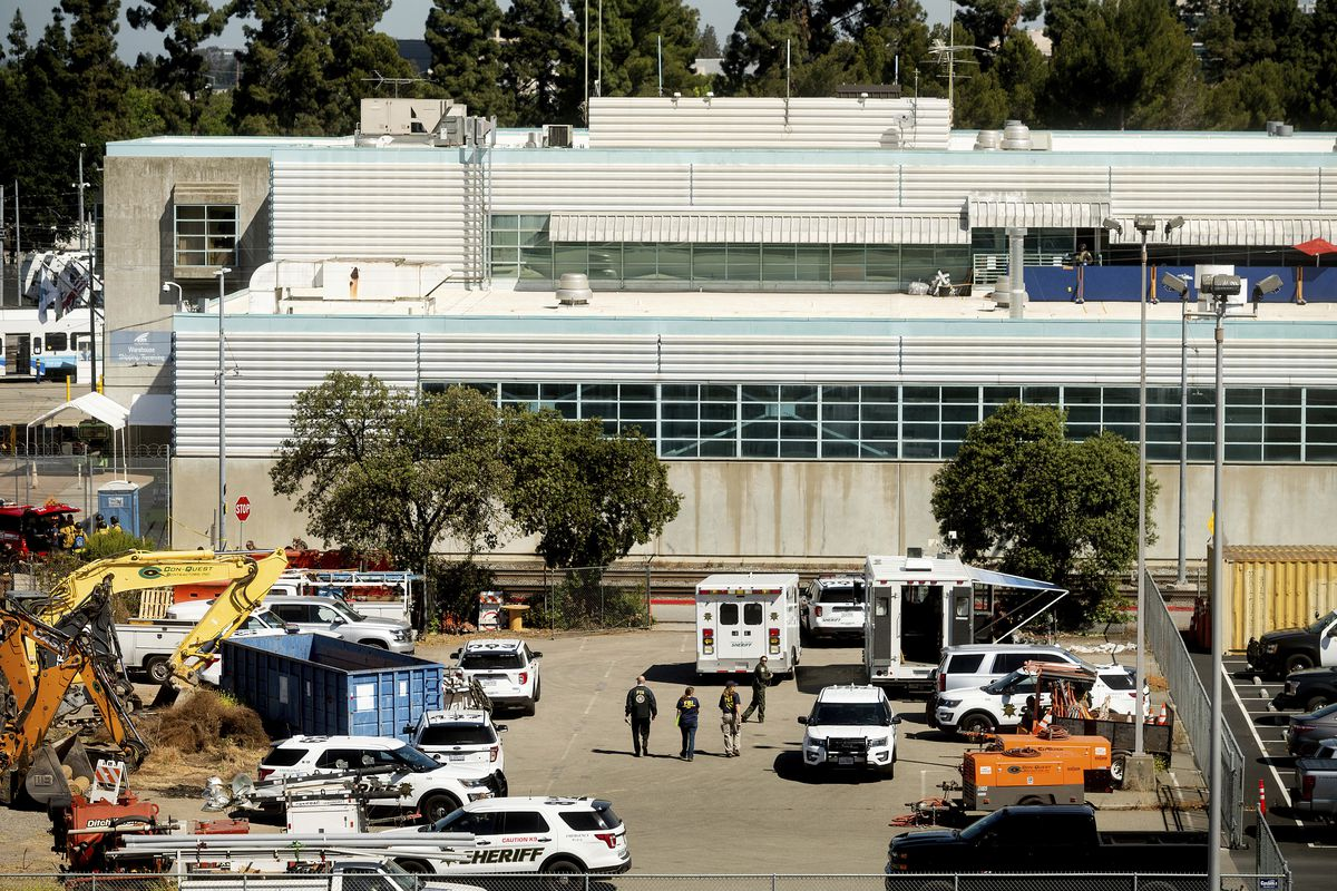 Law enforcement officers respond to the scene of a shooting at a Santa Clara Valley Transportation Authority (VTA) facility.