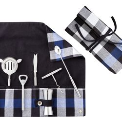 Bar Set with Carrier in Blue/Black Plaid, $30