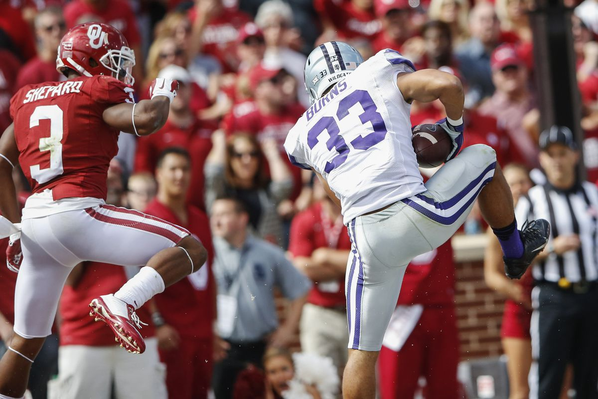 This interception in the end zone to halt a Sooners scoring drive was one of the highlights of Morgan Burns' breakout season at cornerback.