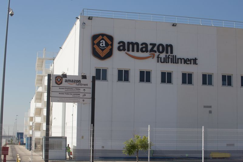 The exterior of an Amazon fulfillment center in Spain.