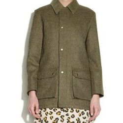 """<a href=""""http://uscheckout.apc.fr/browse.cfm/4,2385.html?nav=sale&subnav=women"""">A.P.C</a> Hunting Mac in Scottish Wool, $317.50 (was $635)"""