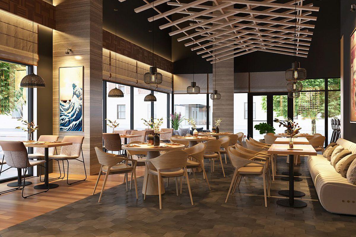 A rendering of Kanau Sushi
