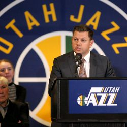 Utah Jazz president Steve Starks talks about the announcement that ownership of the Jazz will be transferred into a legacy trust to ensure the Jazz stay in Utah at the Vivant Smart Home Arena in Salt Lake City on Monday, Jan. 23, 2017.
