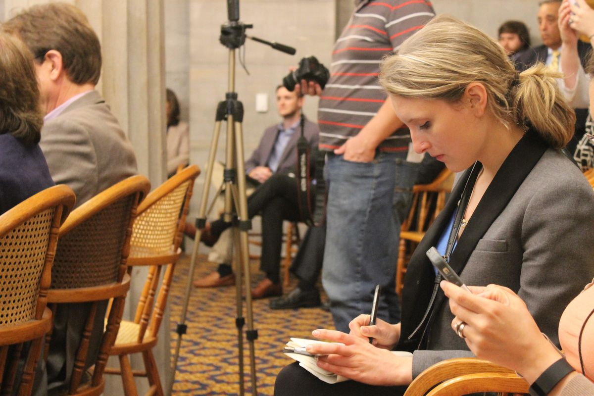 Grace Tatter covers a press conference at the Tennessee State Capitol in 2015.