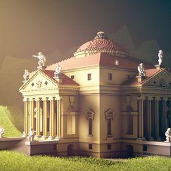 A temple scene in <em>Beautiful Minecraft</em>