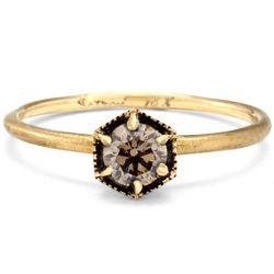 "<b>Satomi Kawakita</b> <a href=""http://satomikawakita.com/collections/ring/products/r2204br"">Hexagon Brown Diamond Ring</a>, from $1,180"