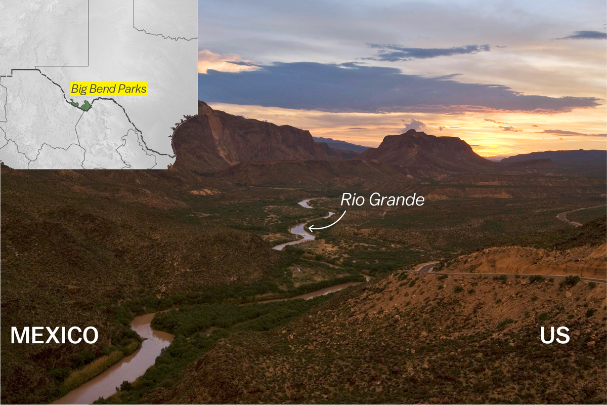 Photo of the Rio Grande cutting through Big Bend State Park, dividing the US from Mexico