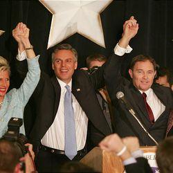 Mary Kaye Huntsman, Gov.-elect Jon Huntsman Jr., Lt. Gov.-elect Gary Herbert and Jeanette Herbert celebrate the gubernatorial win in 2004.