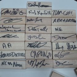 Jenga block signatures from all of the chefs who stopped by.