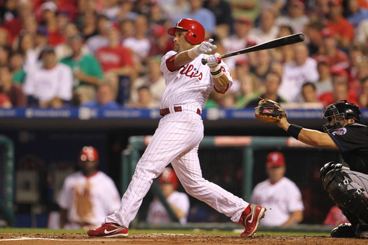 PHILADELPHIA - MAY 2: Third baseman Placido Polanco #27 of the Philadelphia Phillies hits a home run during a game against the New York Mets at Citizens Bank Park on May 2, 2010 in Philadelphia, Pennsylvania. (Photo by Hunter Martin/Getty Images)