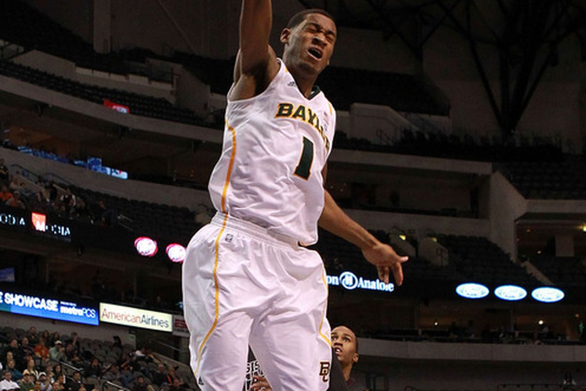 DALLAS, TX - DECEMBER 28:  Perry Jones III #1 of the Baylor Bears makes the slam dunk against the Mississippi State Bulldogs at American Airlines Center on December 28, 2011 in Dallas, Texas.  (Photo by Ronald Martinez/Getty Images)