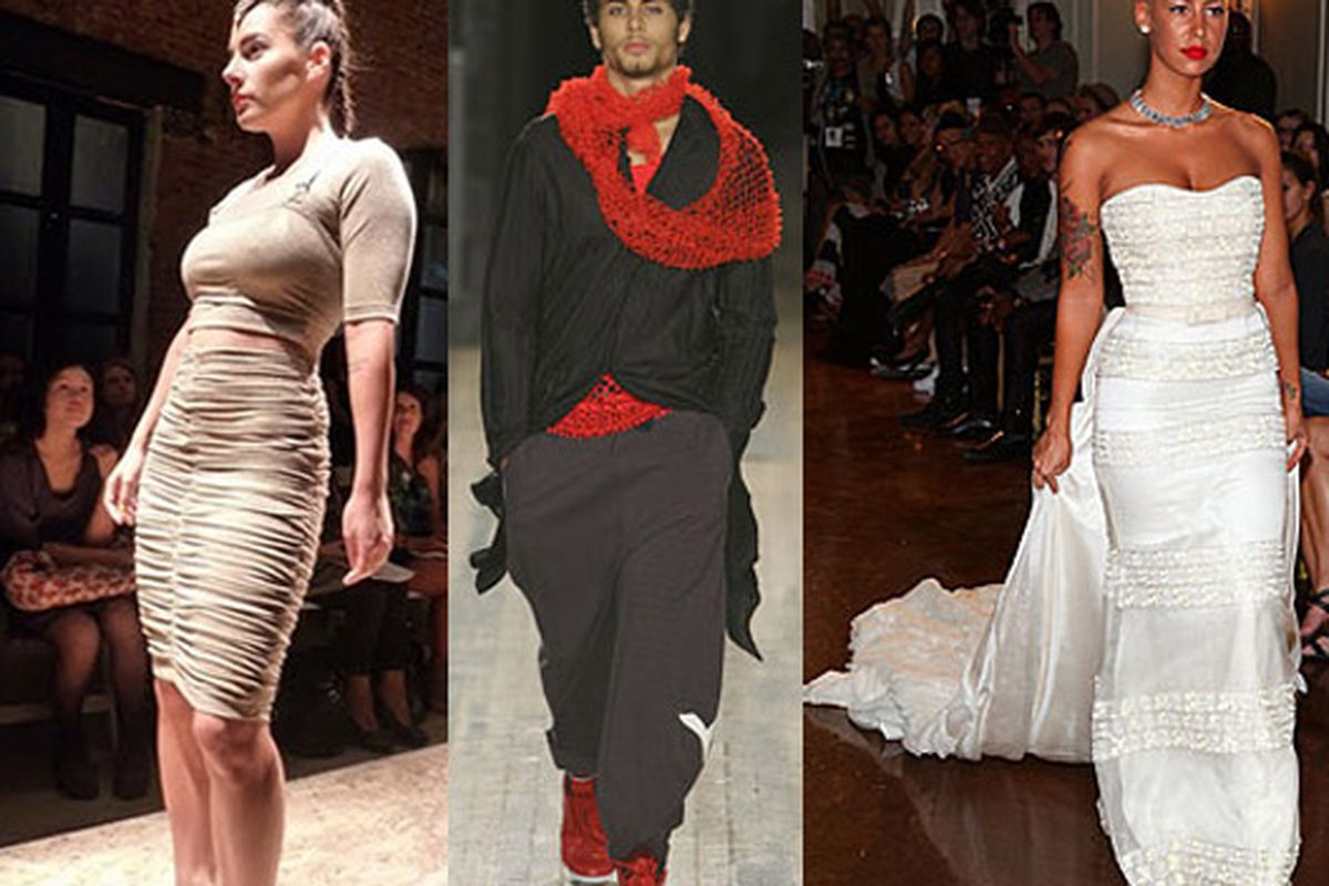 """Dupre photo via <a href=""""http://www.nbcnewyork.com/blogs/the-thread/Photos-The-GreenShows-Brings-Eco-to-Fashion-Week-59460632.html"""">Thread</a>; Jesus Luz and Amber Rose images via Getty/imaxtree/<a href=""""http://nymag.com/daily/fashion/2009/09/amber_"""