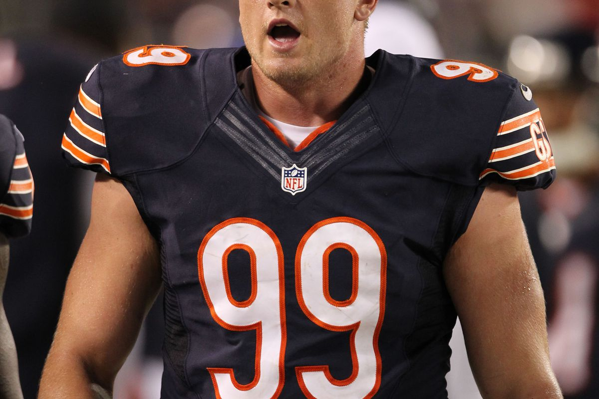 Aug 9, 2012; Chicago, IL, USA; Chicago Bears defensive end Shea McClellin (99) on the sidelines during the game against the Denver Broncos at Soldier Field.  Mandatory Credit: Matthew Emmons-US PRESSWIRE