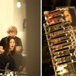 Haircut by Connie McGrath (L) and lipsticks from Ellis Faas (R); Photos: Brendan Cooney