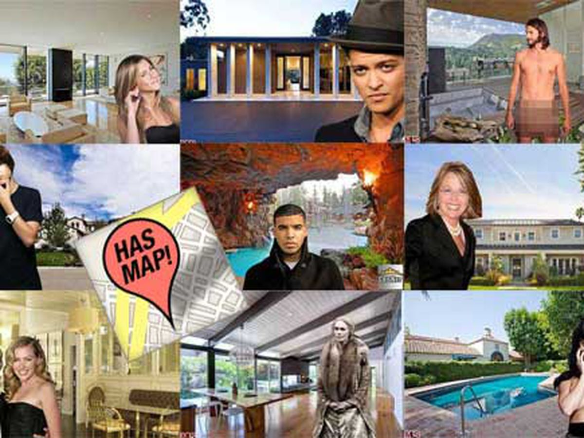 Hot Celeb Homes Right Now Meet The LA Celebrity Heatmap - Los angeles map to the stars
