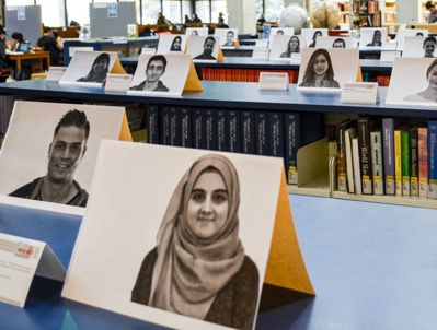 The student group from Mount Royal University in Calgary, Alberta, used black-and-white photos for its campaign to humanize and create dialogue between Muslim and non-Muslim students.