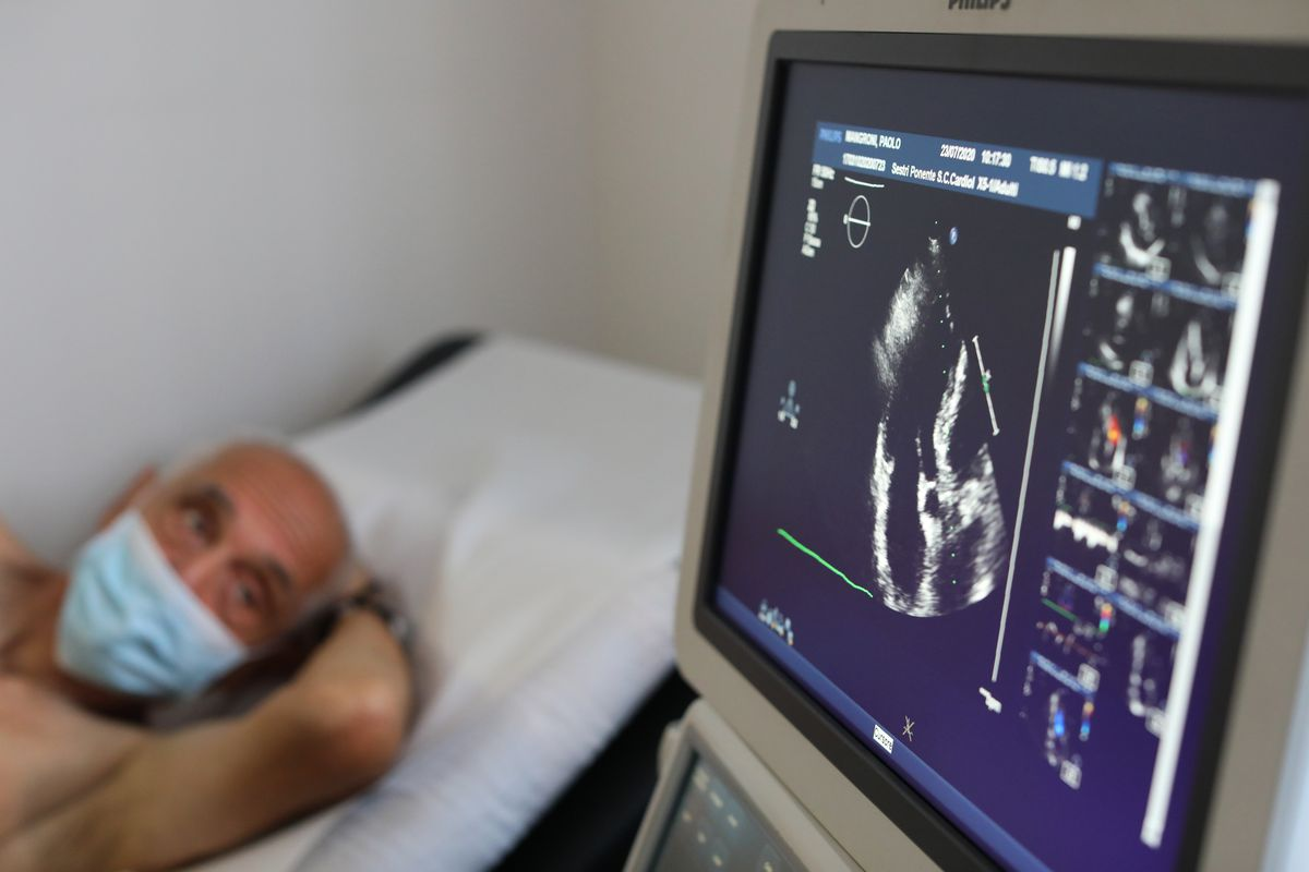 A recovered Coronavirus patient is monitored by a medical staff at the Department of Rehabilitative Cardiology of ASL 3 Genova on July 23, 2020 in Genoa, Italy
