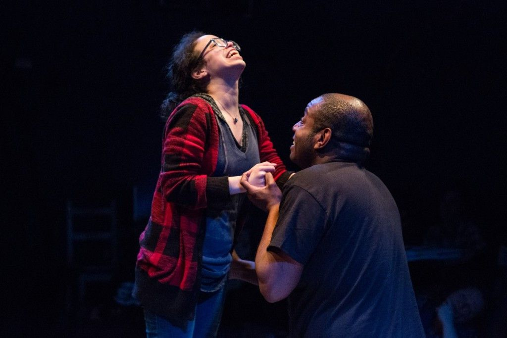 """Tricia Rodriguez and Robert Howard star in Ike Holter's Stay Woke,"""" part of The Gift Theatre's """"TEN"""" project. (Photo: Claire Demos)"""