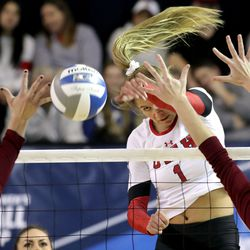Utah's Dani Drews spikes the ball during the first round of the NCAA volleyball championships against the Denver Pioneers at the Smith Fieldhouse in Provo on Friday, Nov. 30, 2018. Utah won 3-0.