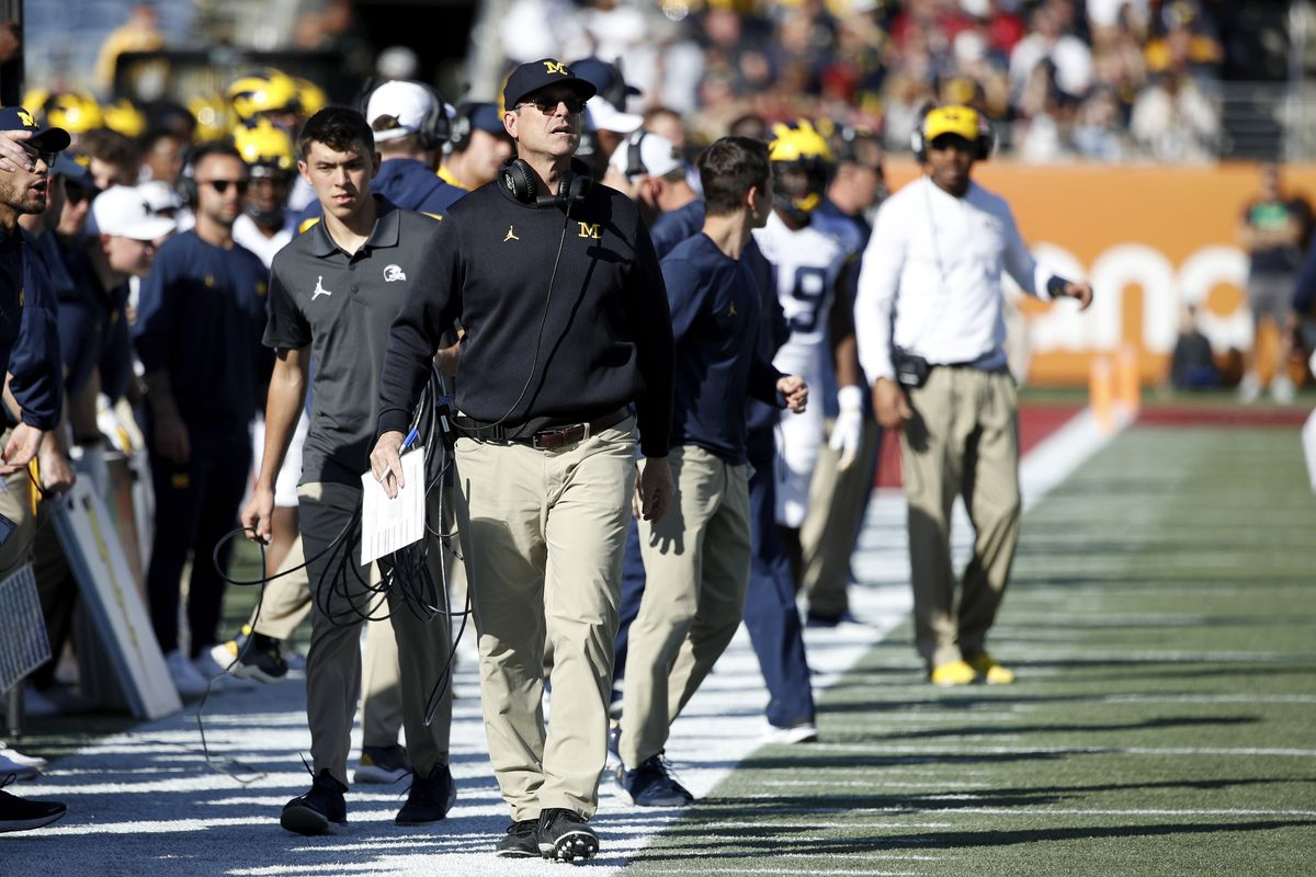Head coach Jim Harbaugh of the Michigan Wolverines looks on during the Vrbo Citrus Bowl against the Alabama Crimson Tide at Camping World Stadium on January 1, 2020 in Orlando, Florida.