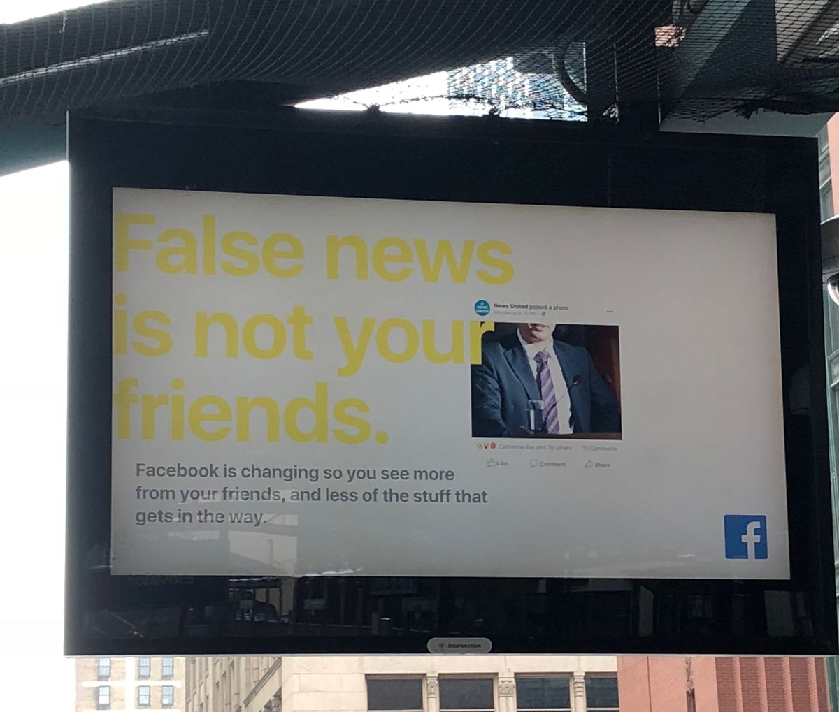"""On CTA platforms, Facebook's newest ad campaigns tell commuters """"False news is not your friends."""""""