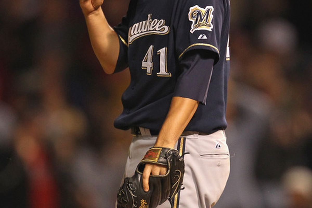 Marco Estrada reacts after giving up a two-run home run to Aramis Ramirez to tie the game in the eighth.
