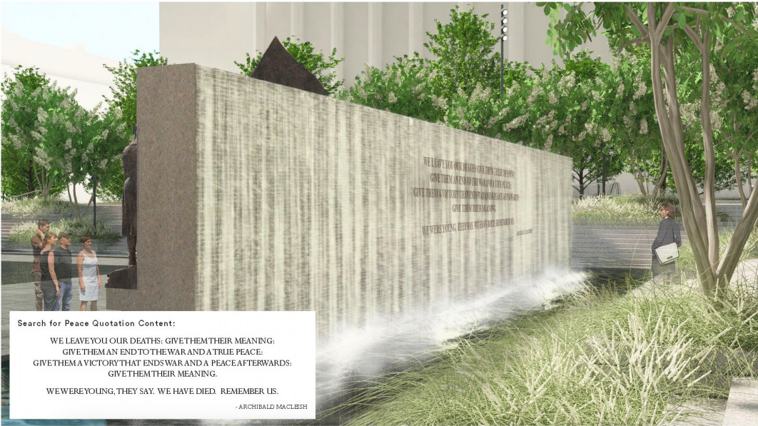 A rendering of a sculptural wall with cascading fountain and inscription.