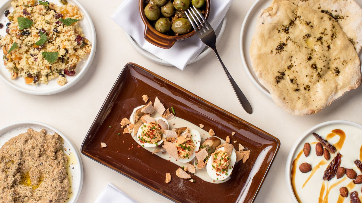 Olives, flatbread, and other Mediterranean small plates